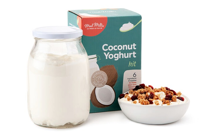 20 Delicious Dairy-Free Food Gifts for Everyone on Your List - unique presents with plant-based, vegan, gluten-free, paleo, and allergy-friendly options. Pictured: DIY Coconut Yogurt Kit