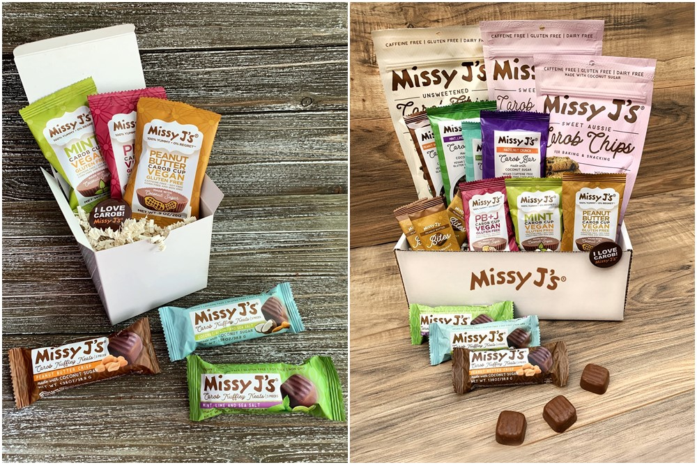 20 Delicious Dairy-Free Food Gifts for Everyone on Your List - unique presents with plant-based, vegan, gluten-free, paleo, and allergy-friendly options. Pictured: Missy J's Carob Sampler Boxes