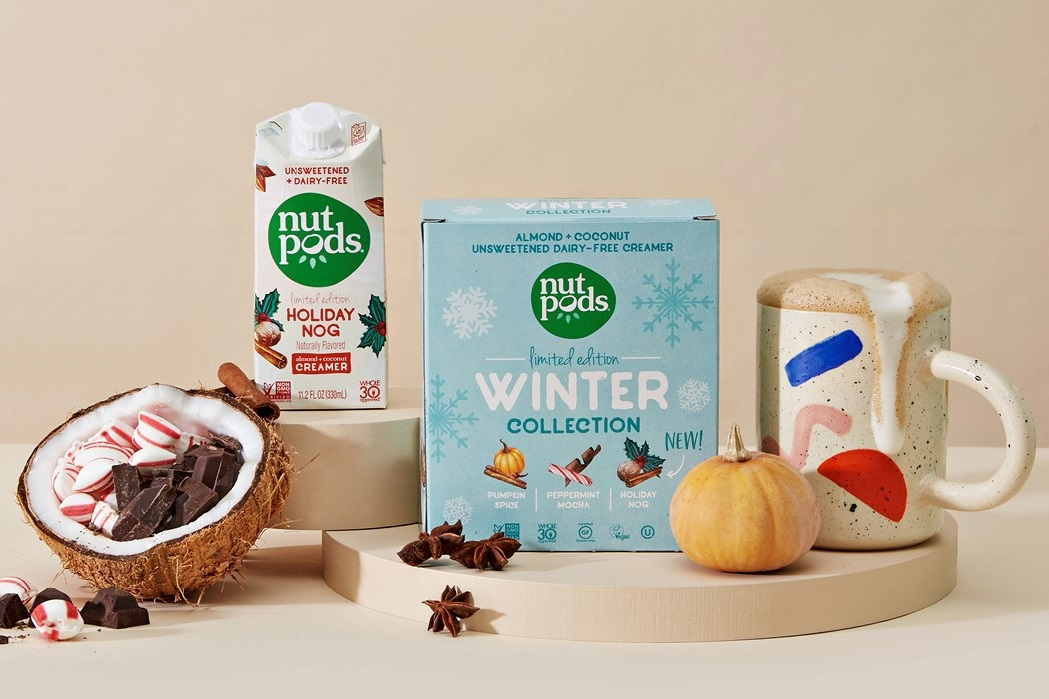 20 Delicious Dairy-Free Food Gifts for Everyone on Your List - unique presents with plant-based, vegan, gluten-free, paleo, and allergy-friendly options. Pictured: Nutpods Winter Collection of Dairy-Free Creamers