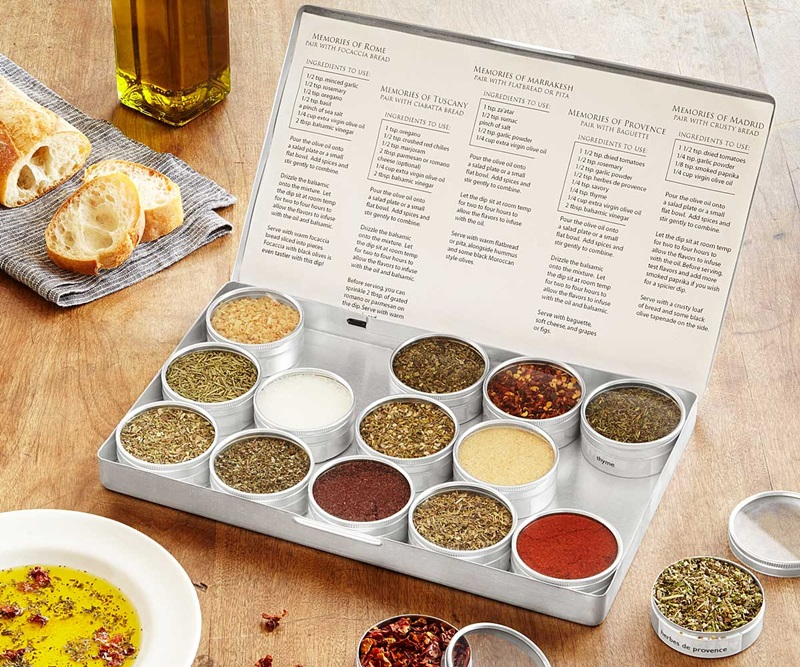 20 Delicious Dairy-Free Food Gifts for Everyone on Your List - unique presents with plant-based, vegan, gluten-free, paleo, and allergy-friendly options. Pictured: Dipping Oil Spice Set