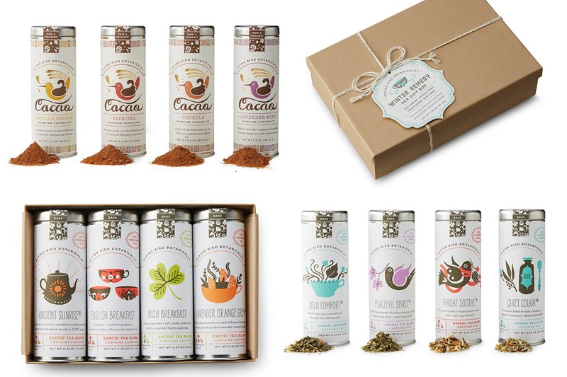 20 Delicious Dairy-Free Food Gifts for Everyone on Your List - unique presents with plant-based, vegan, gluten-free, paleo, and allergy-friendly options. Pictured: Scout Erling Dairy-Free Hot Chocolate and Tea Gift Sets (allergy-friendly)