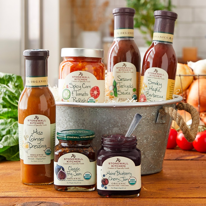 20 Delicious Dairy-Free Food Gifts for Everyone on Your List - unique presents with plant-based, vegan, gluten-free, paleo, and allergy-friendly options. Pictured: Stonewall Kitchen Organic Goodies Gift Set - dairy-free, gluten-free, plant-based