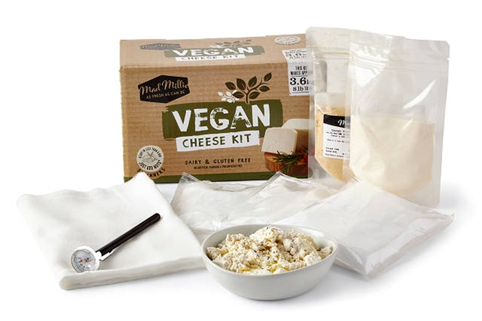 20 Delicious Dairy-Free Food Gifts for Everyone on Your List - unique presents with plant-based, vegan, gluten-free, paleo, and allergy-friendly options. Pictured: Vegan Cheese Making Kit