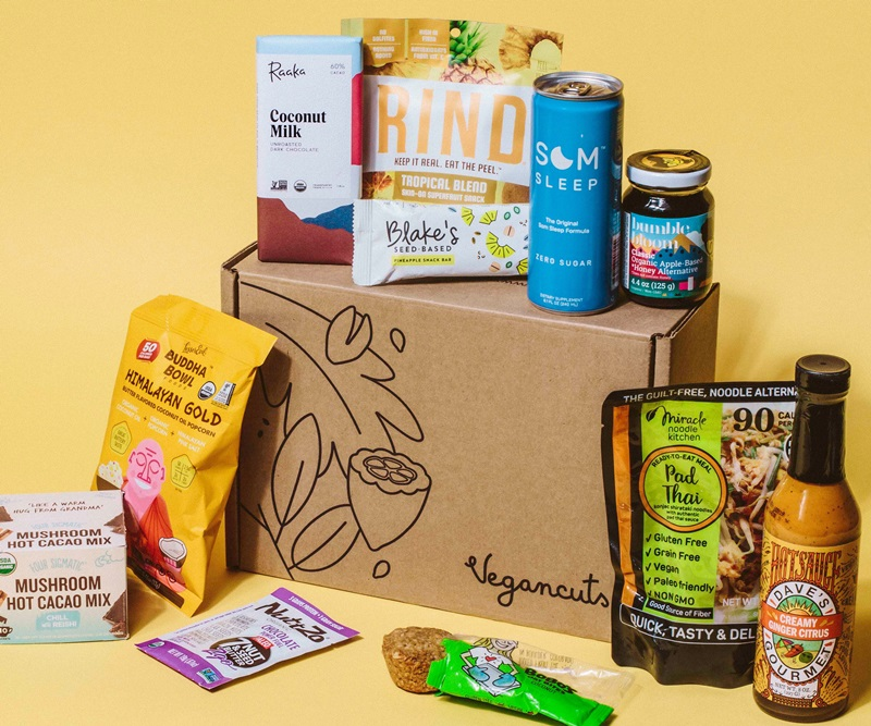 20 Delicious Dairy-Free Food Gifts for Everyone on Your List - unique presents with plant-based, vegan, gluten-free, paleo, and allergy-friendly options. Pictured: VeganCuts Snack Box
