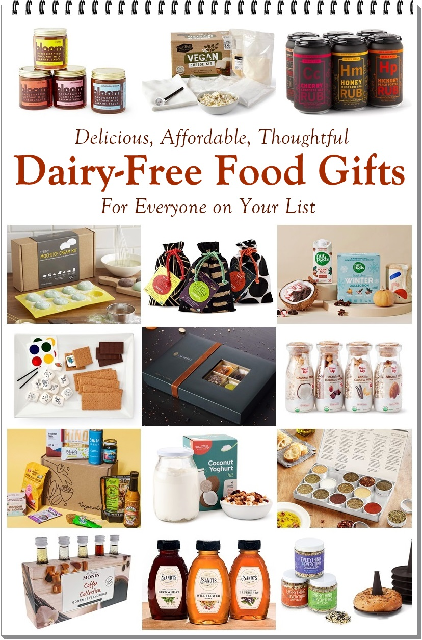 20 Dairy-Free Food Gifts For Everyone on Your List - Delicious, Affordable, Thoughtful, with options for Vegan, Plant-Based, Paleo, Gluten-Free, and More