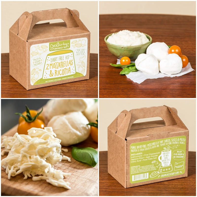 10 Delicious Dairy-Free Food Gifts with Something for Everyone On Your List (all packaged and ready for gifting!). Pictured: Urban Cheese Craft DIY Dairy-Free Mozzarella & Ricotta Kit! (gluten-free, vegan, and paleo, too!)