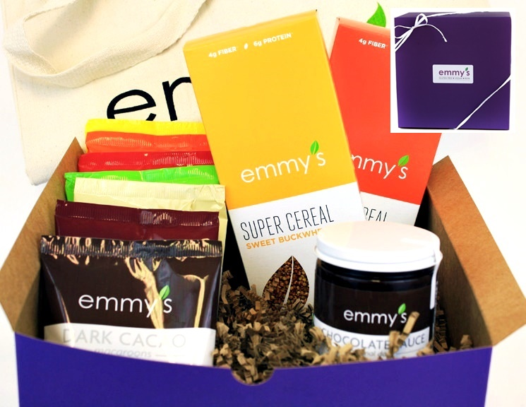 10 Delicious Dairy-Free Food Gifts with Something for Everyone On Your List (all packaged and ready for gifting!). Pictured: Emmy's Organic Deluxe Sampler Pack (raw, vegan, gluten-free, amazing! Several flavors of macaroons, superfood cereals, and chocolate sauce)