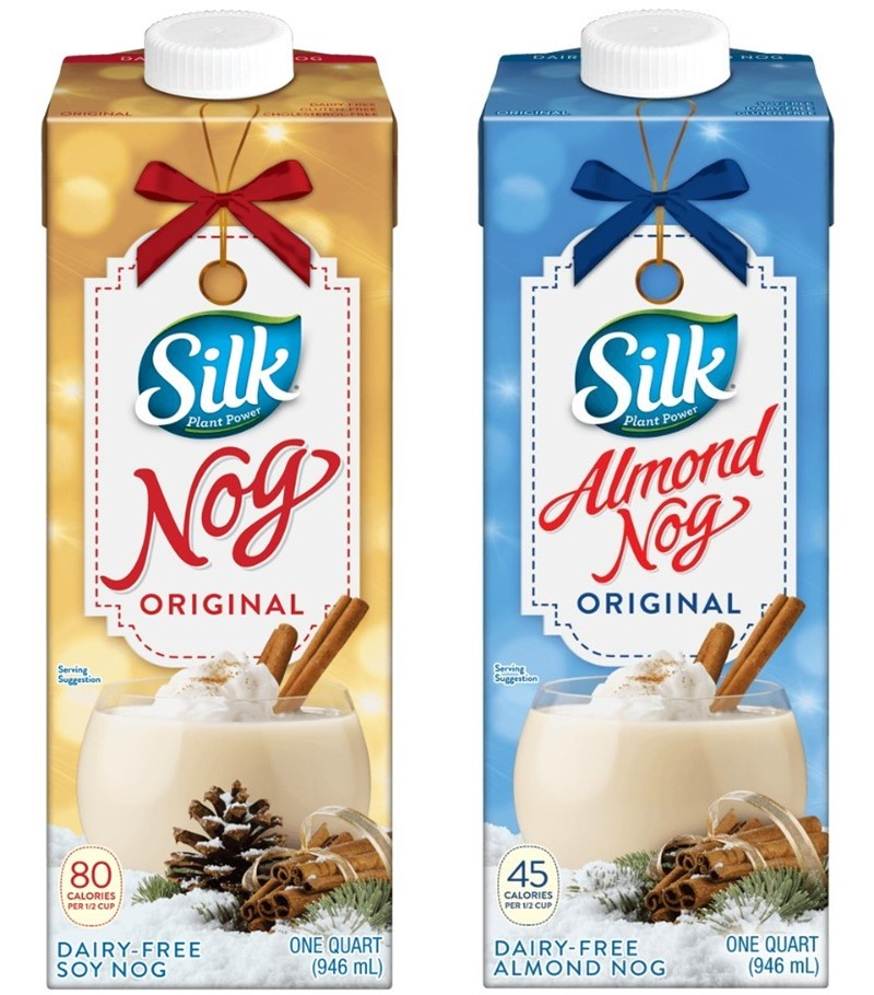 Dairy-Free Holiday Beverages: Silk Soy Nog and Almond Nog pictured