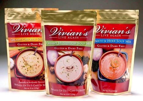 Vivian's Live Again Soup and Sauce Mixes (Review) - Convenient powdered packets for making gluten-free, dairy-free cream of mushroom soup, creamy chicken soup, tomato soup and alfredo sauce.