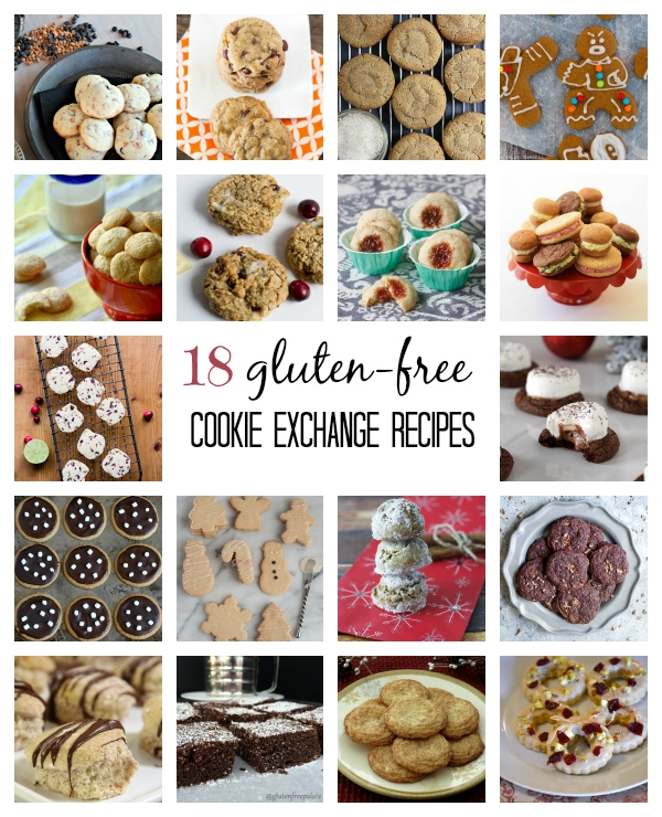 18 Gluten-free Cookie Exchange Recipes Including Holiday Sandwich Cookies in Four Fun Flavors: Mint Chocolate Chip, Berry Sugars, Maple-Doodles, and Iced Gingerbread