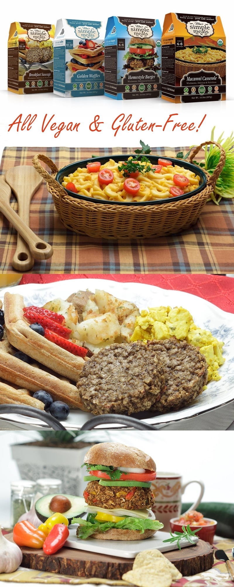 Kim's Simple Meals: Organic, Vegan, Gluten-Free, Just-Add-Water Convenience! Boxed, shelf-stable mixes with 8 servings (macaroni casserole, veggie burger, breakfast sausage & golden waffles).