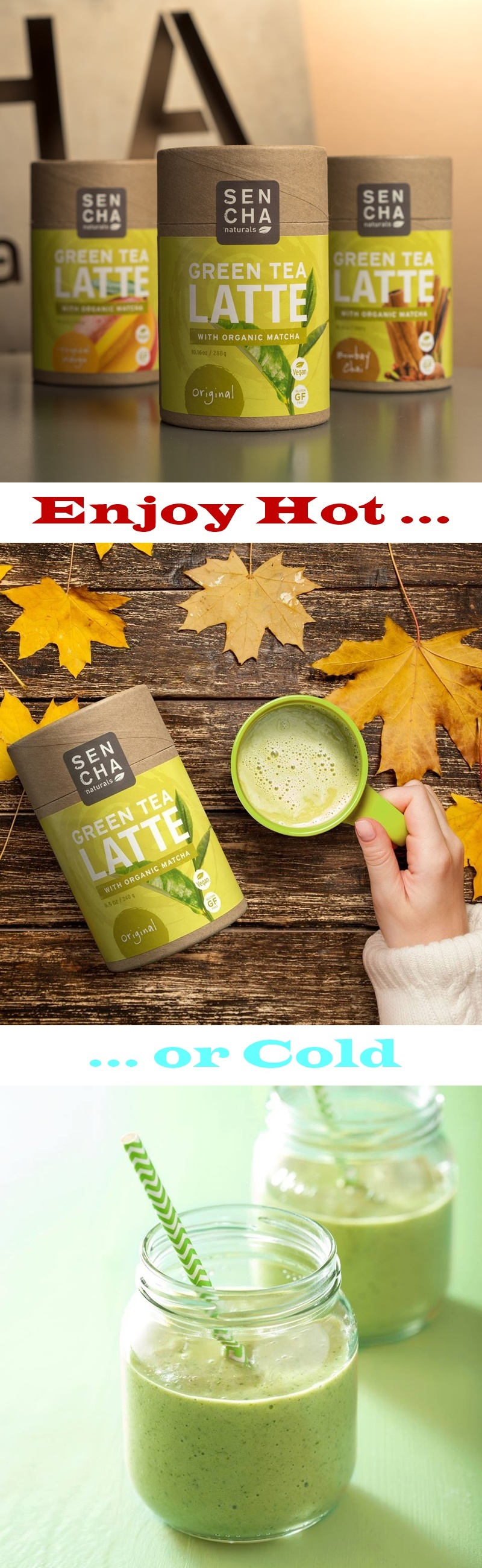 Sencha Naturals Green Tea Latte Mixes - Three Organic Matcha Mixes, all vegan, dairy-free, gluten-free, and allergy-friendly