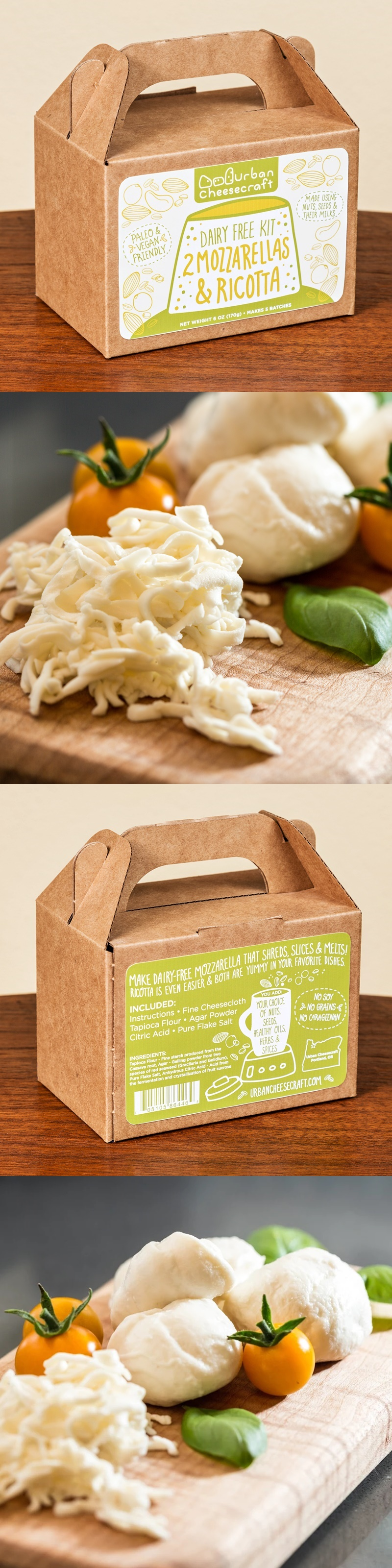 Urban Cheesecraft Dairy-Free Mozzarella & Ricotta Kit - make your own dairy-free cheese! Options for vegan and paleo.