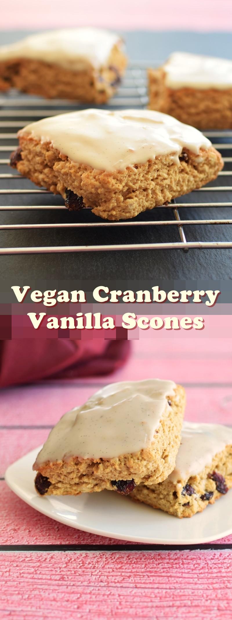 Vegan Cranberry Vanilla Scones
