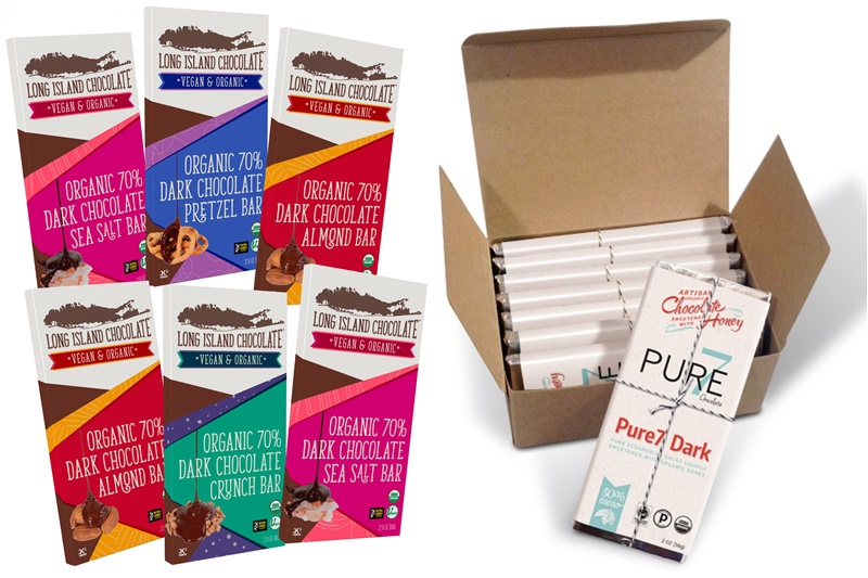 Top 12 Dairy-Free Chocolate Gifts for the Holidays (pictured: Long Island Chocolate (Vegan) or Pure 7 (Paleo) gift chocolate bars)