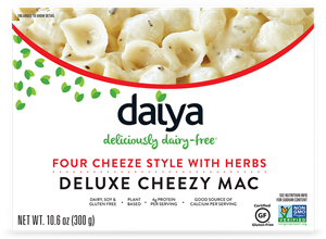 Daiya Cheezy Mac Reviews and Info - dairy-free, gluten-free, vegan, top allergen-free mac and cheese alternative in several flavors. Pictured: Four Cheeze