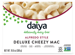 Daiya Cheezy Mac Reviews and Info - dairy-free, gluten-free, vegan, top allergen-free mac and cheese alternative in several flavors. Pictured: Alfredo
