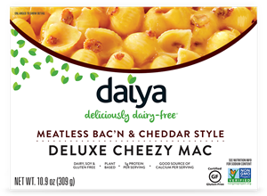 Daiya Cheezy Mac Reviews and Info - dairy-free, gluten-free, vegan, top allergen-free mac and cheese alternative in several flavors. Pictured: Bac'n and Cheddar