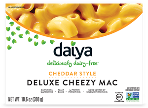 Daiya Cheezy Mac Reviews and Info - dairy-free, gluten-free, vegan, top allergen-free mac and cheese alternative in several flavors. Pictured: Cheddar