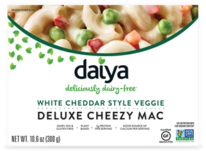Daiya Cheezy Mac Reviews and Info - dairy-free, gluten-free, vegan, top allergen-free mac and cheese alternative in several flavors. Pictured: White Cheddar