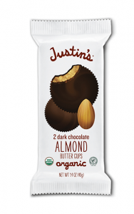 Justin's Nut Butter Cups Reviews and Information (Dairy-Free and Vegan Dark Chocolate Varieties). Pictured: Justin's Almond Butter Cups