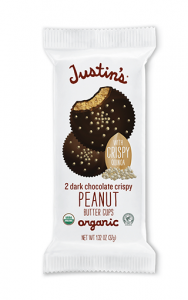 Justin's Nut Butter Cups Reviews and Information (Dairy-Free and Vegan Dark Chocolate Varieties). Pictured: Justin's Crispy Peanut Butter cups