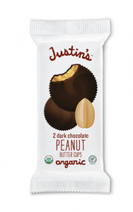 Justin's Nut Butter Cups Reviews and Information (Dairy-Free and Vegan Dark Chocolate Varieties). Pictured: Justin's Dark Chocolate Peanut Butter Cups