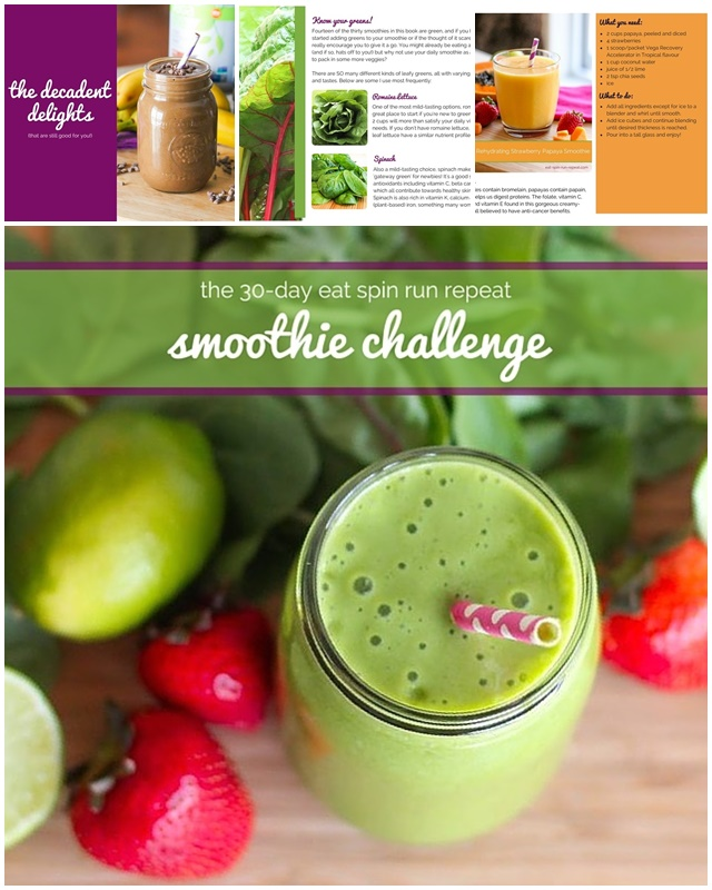 The 30-Day Smoothie Challenge e-Book by Angela Simpson of Eat-Spin-Run-Repeat (all dairy-free and vegan)