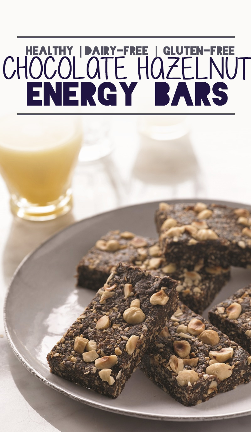 Healthy Chocolate Hazelnut Energy Bars - so easy, so wholesome, and so delicious! Naturally dairy-free, gluten-free, optionally vegan.
