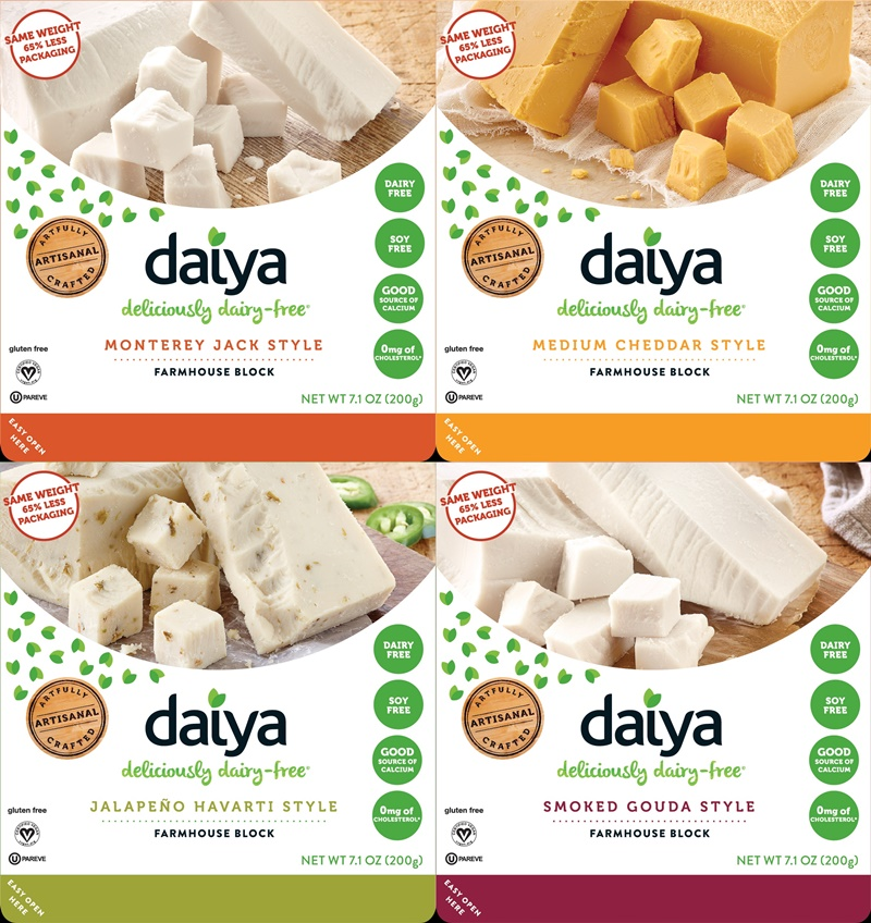 Daiya Farmhouse Blocks - dairy-free hard cheese subs in Jalapeno Havarti, Cheddar, Monterey Jack and Smoked Gouda (vegan, gluten-free, allergy-friendly)