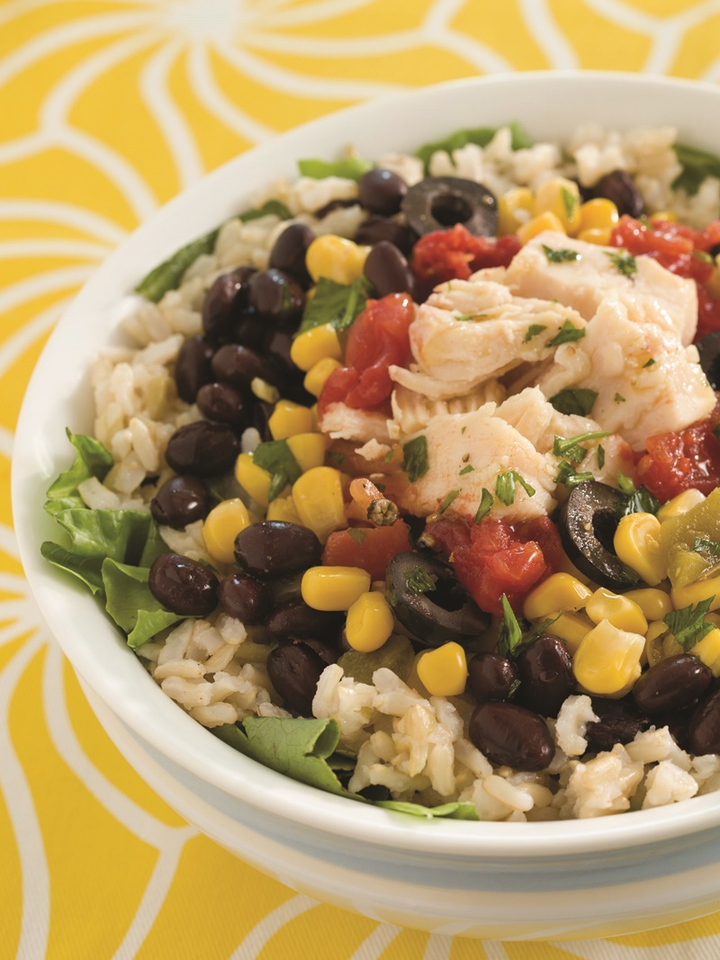 Speedy Chicken Burrito Salad Bowls - a delicious pantry recipe that's naturally dairy-free, gluten-free, and allergy-friendly.