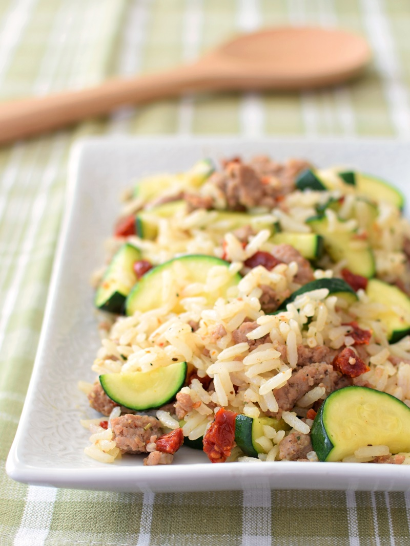 Italian Rice Skillet with Zucchini, Sun-Dried Tomatoes and Speedy Homemade Turkey Sausage - a healthy 30 minute meal! Dairy-free, gluten-free.