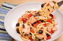 Easy Italian Tuna Fettuccine Recipe - a quick pantry recipe with tomatoes and olives. Dairy-free, gluten-free optional.