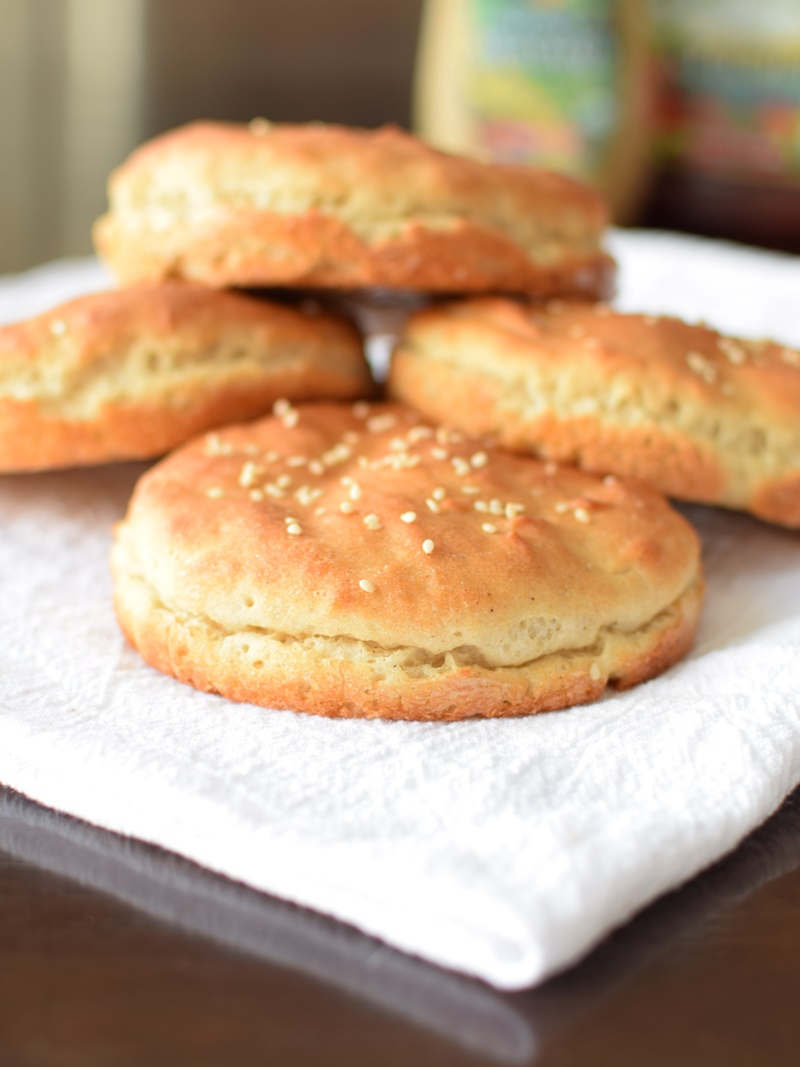 Homemade Skinny Gluten Free Hamburger Buns! The recipe is dairy-free, soy-free, flexible and relatively easy. Perfectly sized like One Buns!