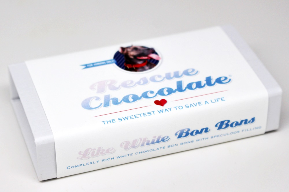 Rescue Chocolate Truffles and Bon Bons - Vegan, dairy-free & profits donated to animal rescue. Includes White Chocolate Speculoos, White Chocolate Cookies 'n Cream and Dark Chocolate Salted Caramel.