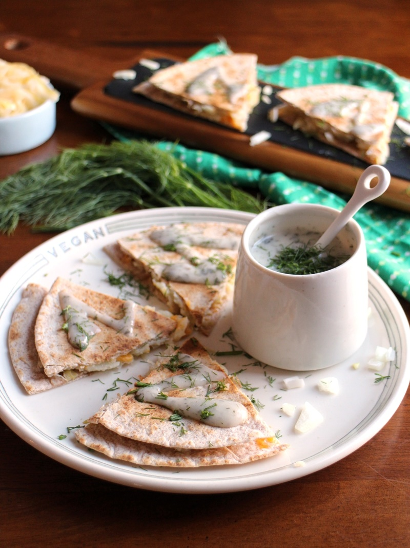 21 Days of Delicious, Nutritious Recipes for the 21-Day Dairy Free Challenge with So Delicious! Pictured: Pierogi Quesadillas with Yogurt Ranch Sauce