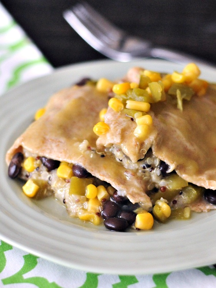 21 Days of Delicious, Nutritious Recipes for the 21-Day Dairy Free Challenge with So Delicious! Pictured: Cashew Cream Quinoa Black Bean Enchiladas