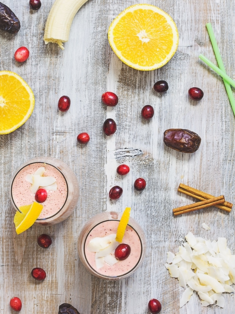 21 Days of Delicious, Nutritious Recipes for the 21-Day Dairy Free Challenge with So Delicious! Pictured: Cranberry Orange Smoothie