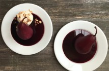Shiraz-Poached Pears with Almond Vanilla Ice Cream