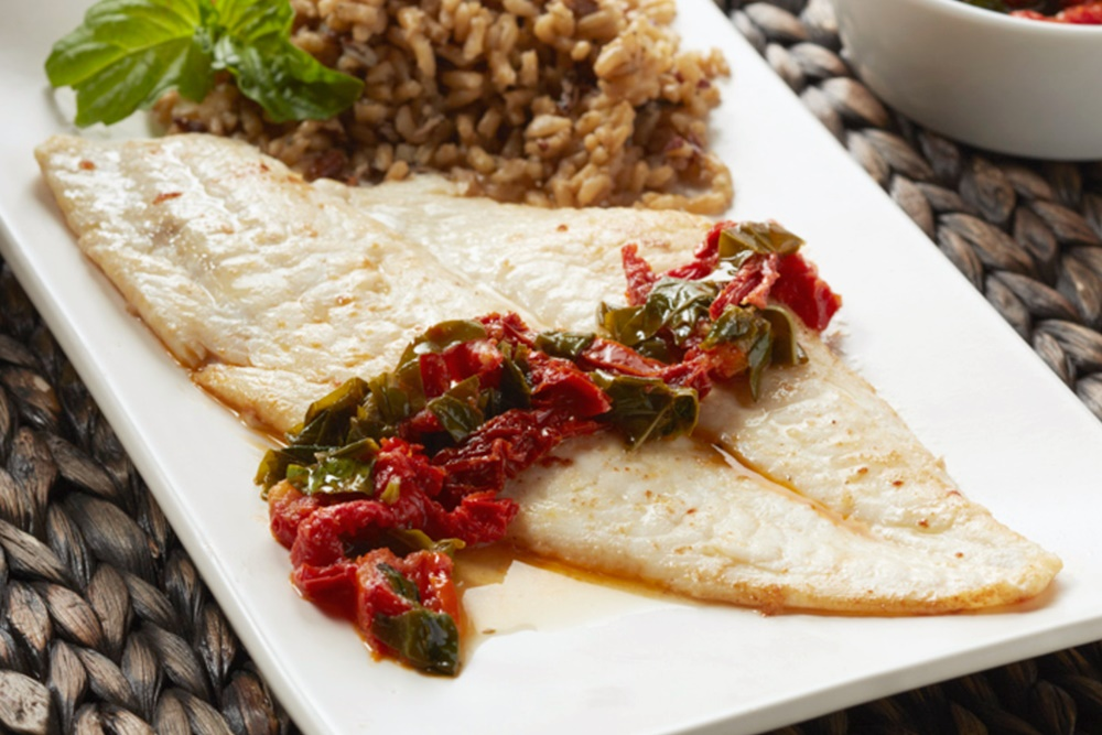 Superfast Sole Capri with Sun-dried Tomato Basil Sauce - a delicious from-scratch, gluten-free, dairy-free entree in minutes.