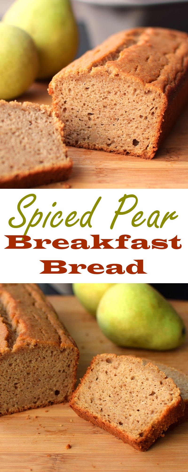 Spiced Pear Breakfast Bread Recipe: Healthy, dairy-free, nut-free, soy-free