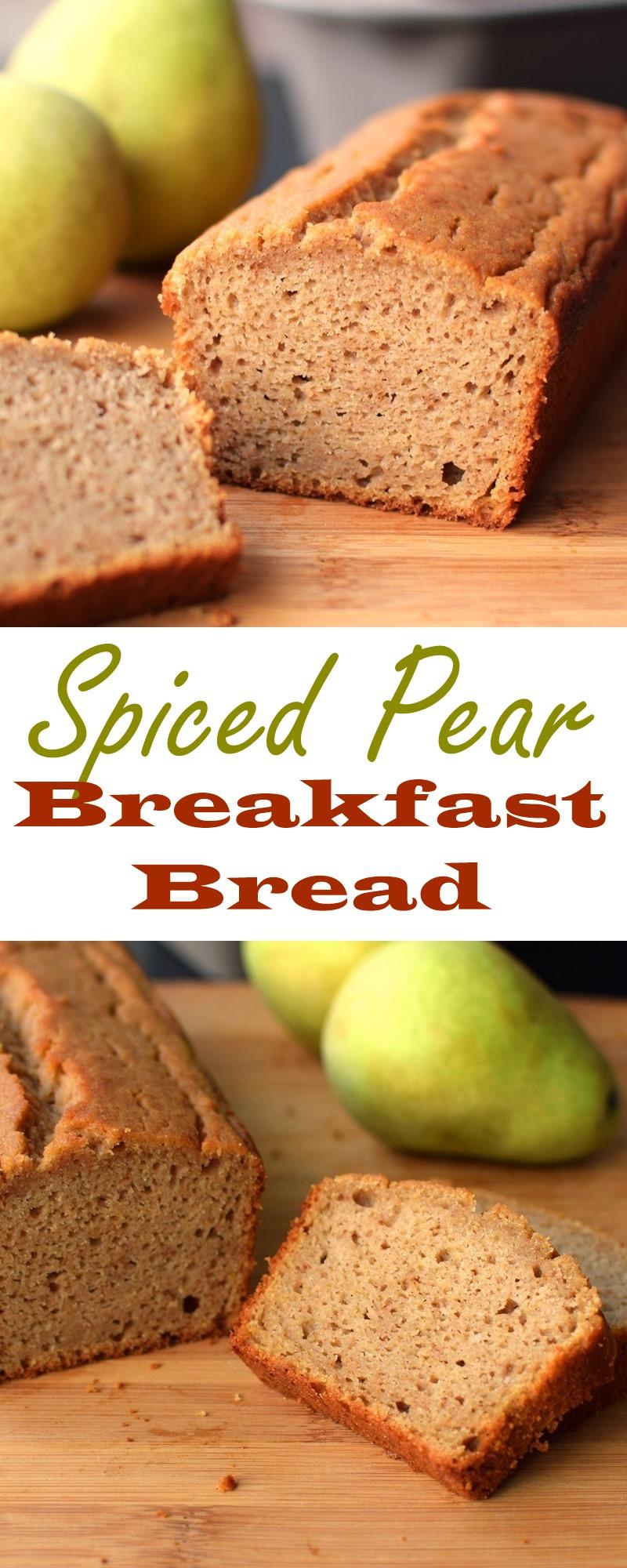 Spiced Pear Breakfast Bread Recipe: Healthy, dairy-free, nut-free, soy-free