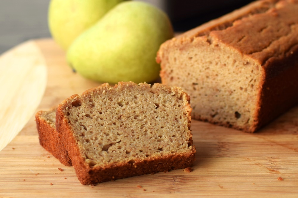 Spiced Pear Breakfast Bread Recipe: A wholesome, whole grain bread sweetened lightly with fruit and maple or honey. Dairy-free, nut-free, soy-free.