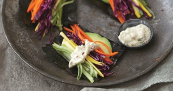 Sunrise Nori Wraps with Spicy Tahini Sauce - Recipe from Eat Clean by Amie Valpone