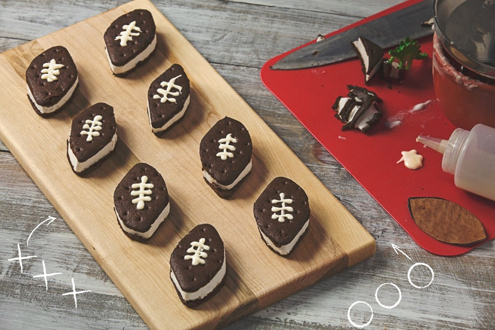 Twenty Tenacious Dairy-Free Super Bowl Recipes - yes, those are little vegan football ice cream sandwiches!