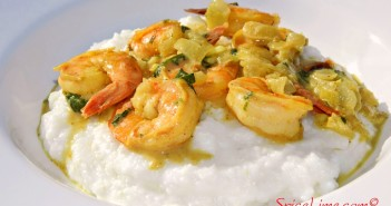 Coconut Curry Shrimp and Grits - a grand-prize winning Indian recipe with Southern flair. Dairy-free, gluten-free, allergy-friendly.