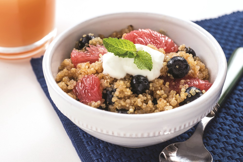 Grapefruit Quinoa Breakfast with Blueberries and Dairy-Free Yogurt. The nourishing, delicious recipe includes a vegan option.
