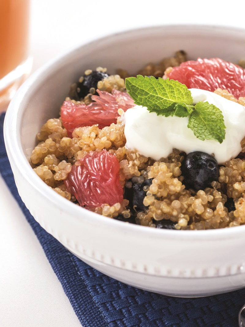 22 Dairy-Free Healthy Winter Recipes - Quinoa Grapefruit Blueberry Breakfast pictured
