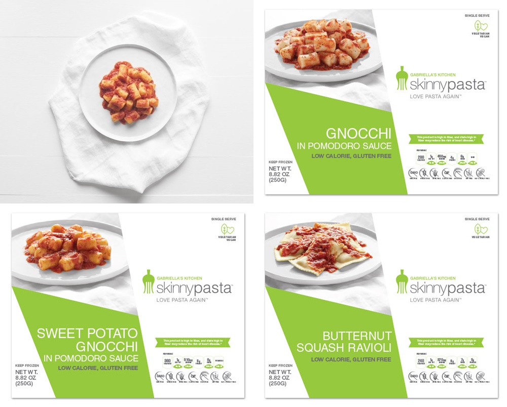 Gluten-Free Skinnypasta Prepared Meals from Gabriella's Kitchen. Dairy-Free options for these frozen entrees include Potato Gnocchi, Sweet Potato Gnocchi (both with Pomodoro Sauce), and Butternut Squash Ravioli