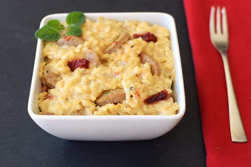 Creamy Dairy-Free Baked Risotto with Italian Sausage and Sun-Dried Tomatoes (the recipe is so easy, gluten-free, allergy-friendly, and AMAZING!)